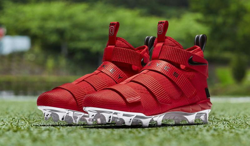 2ef37994136 Nike LeBron Soldier 11 Cleats Ohio State Red Release Date AO9146-600 ...
