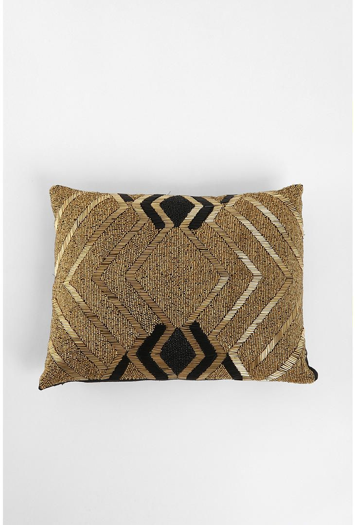Gold And Black Beaded Pillow Pretty Pillows Gold