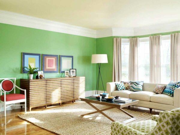 Wohnzimmer grun streichen  Farbideen Wohnzimmer - Trendfarbe Greenery beschert Frische und ...