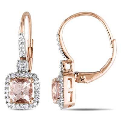 dfa90891d 5.0mm Cushion-Cut Morganite and 1/5 CT. T.W. Diamond Earrings in 10K Rose  Gold - Save on Select Styles - Zales