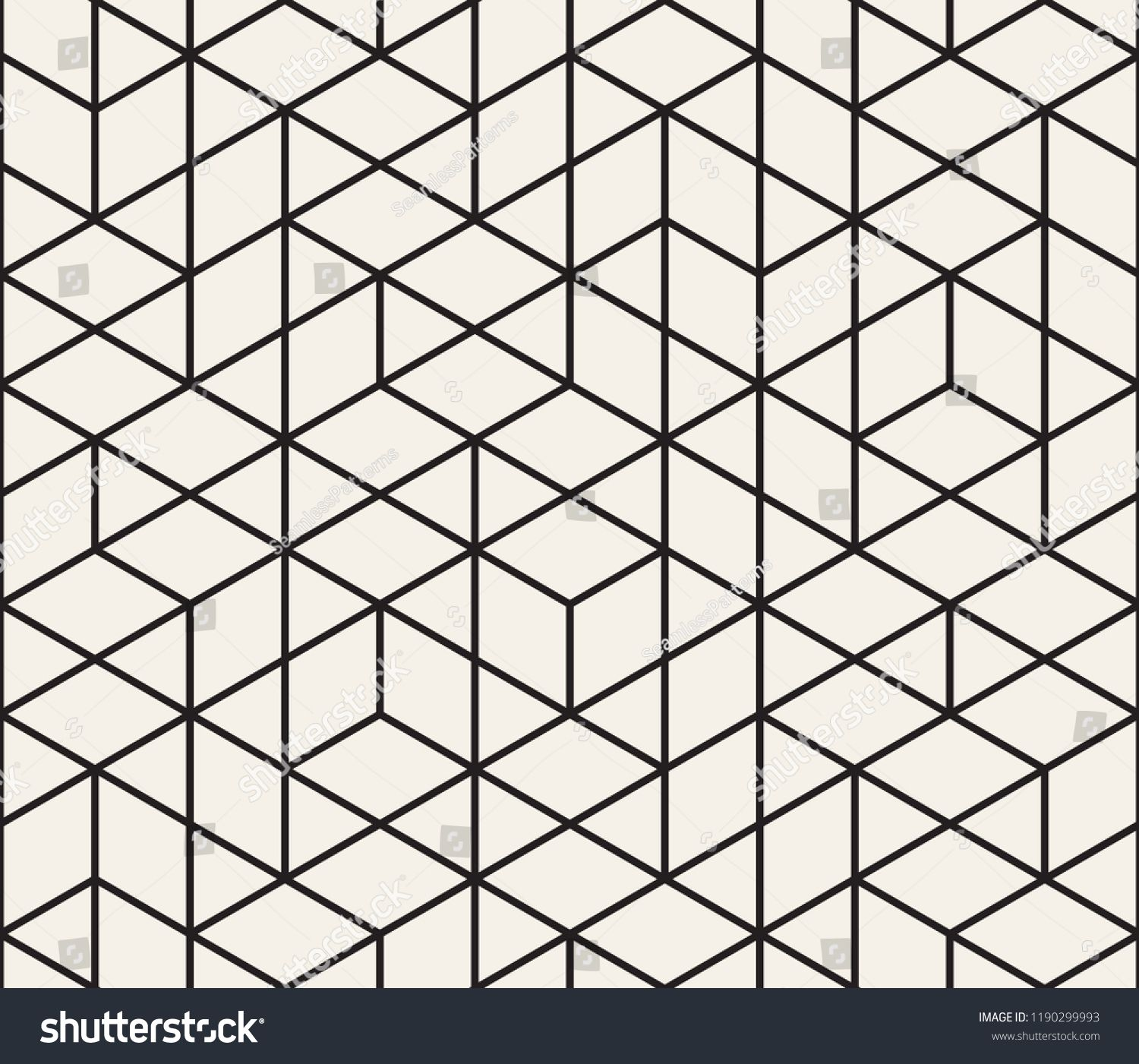 Vector Seamless Geometric Pattern Simple Abstract Lines Lattice