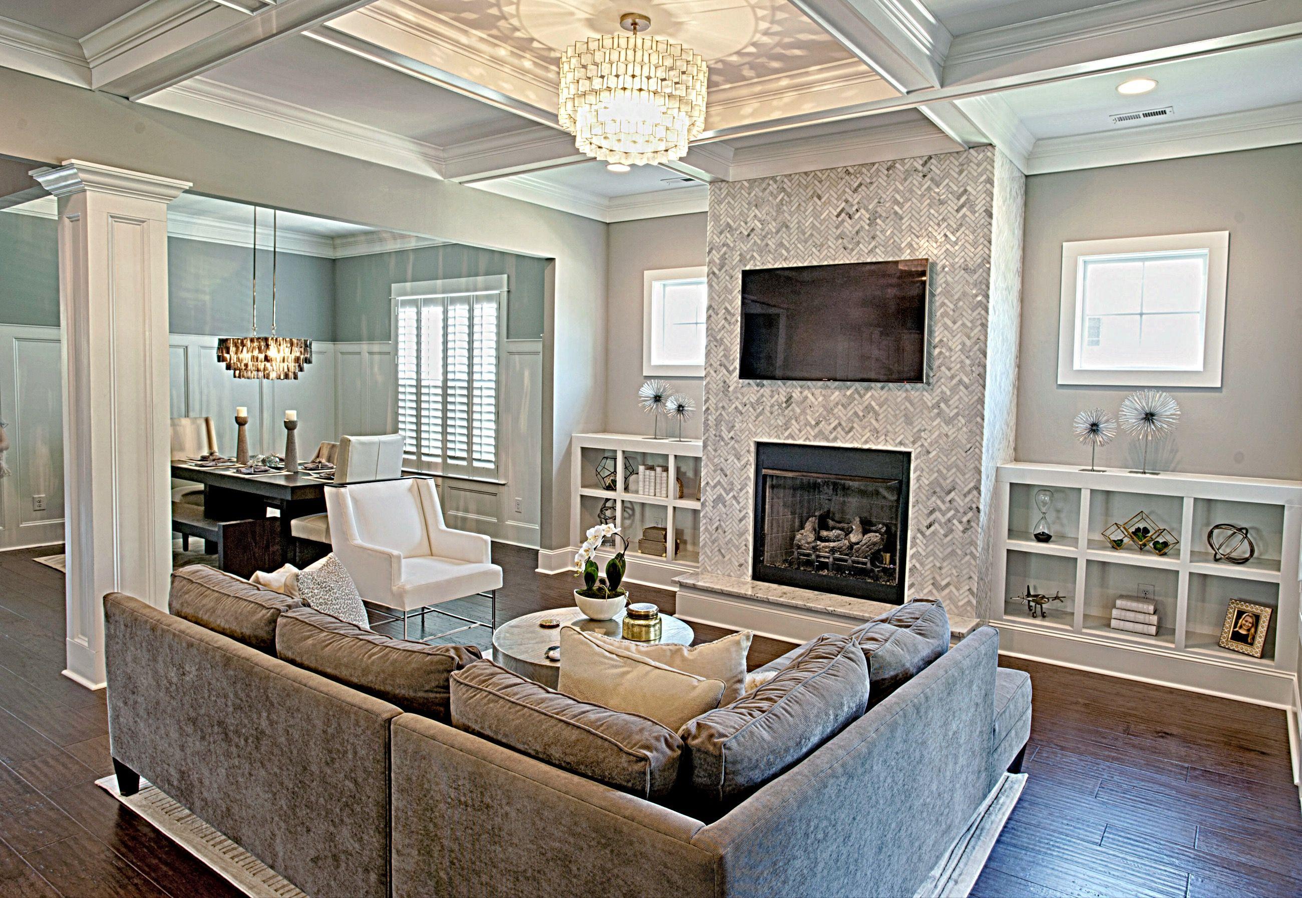 Marble Herringbone Tiled Fireplace Benjamin Moore Coventry Gray Tile
