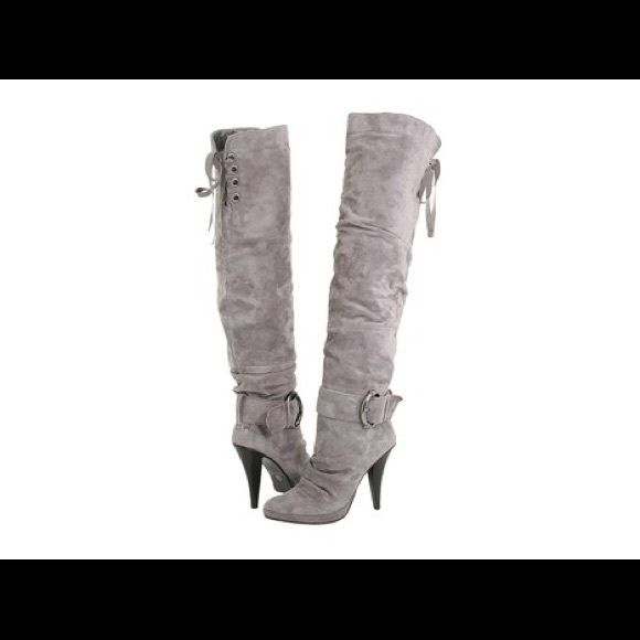 "Previously Listed Gray Boot Please Read.....These are previously loved with flaws from wear....They are above the knee (16"" Opening/adjustable). Lined with a cushion-like interior, new heel tips included.... Two Lips Shoes Over the Knee Boots"