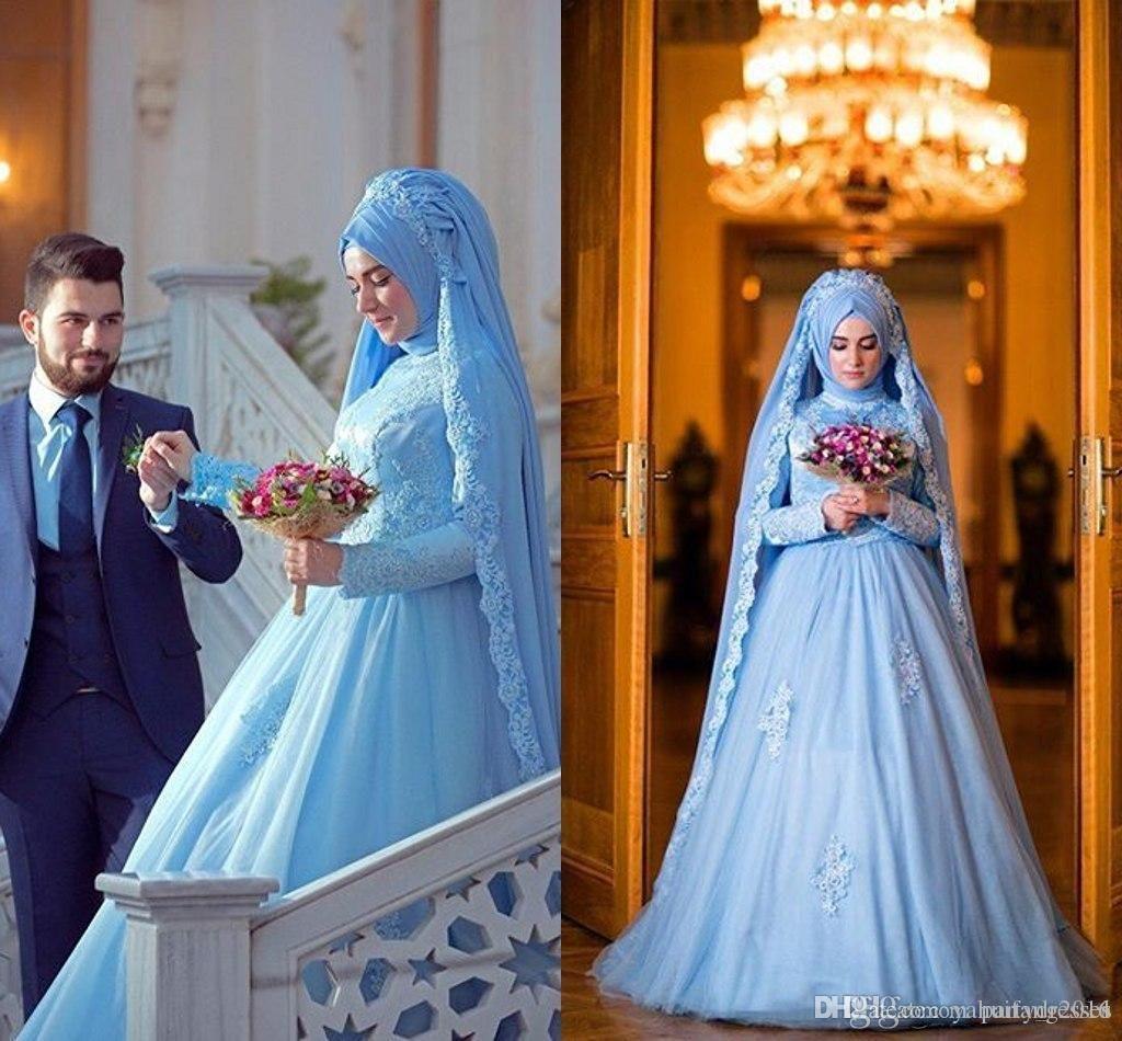 2016 Elegant Long Sleeve Muslim Wedding Dress For Wedding With Hijab ...