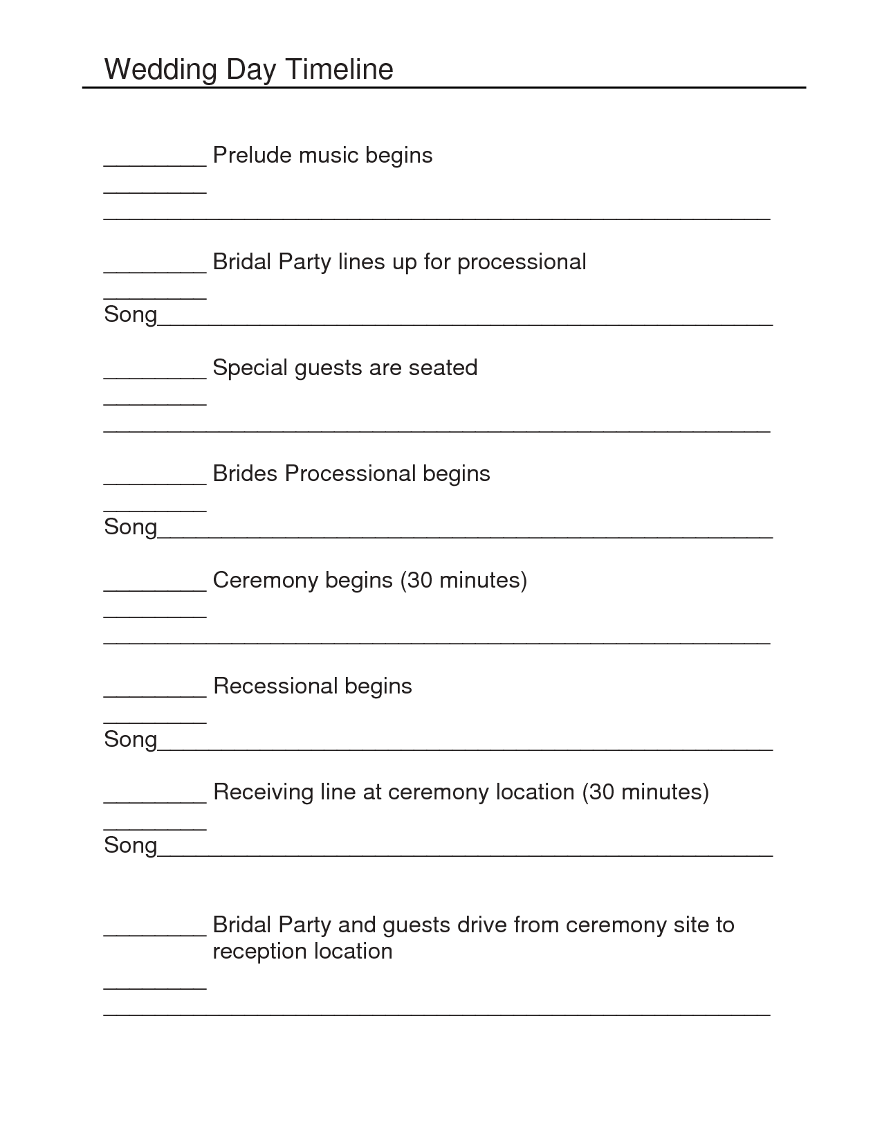 Outline For Formal Wedding Itinerary