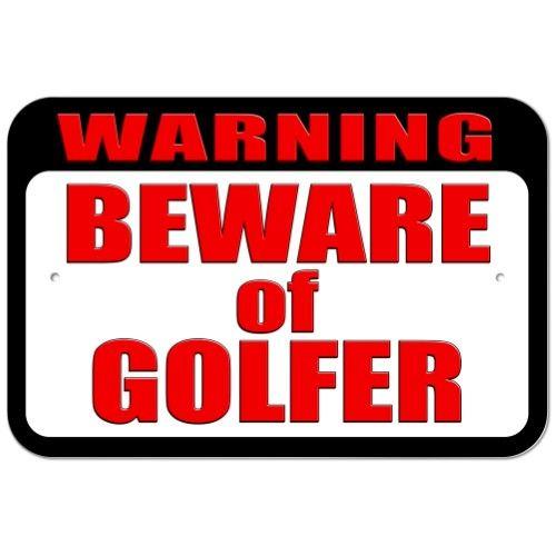 Warning Beware of Golfer Plastic Sign, White Plastic