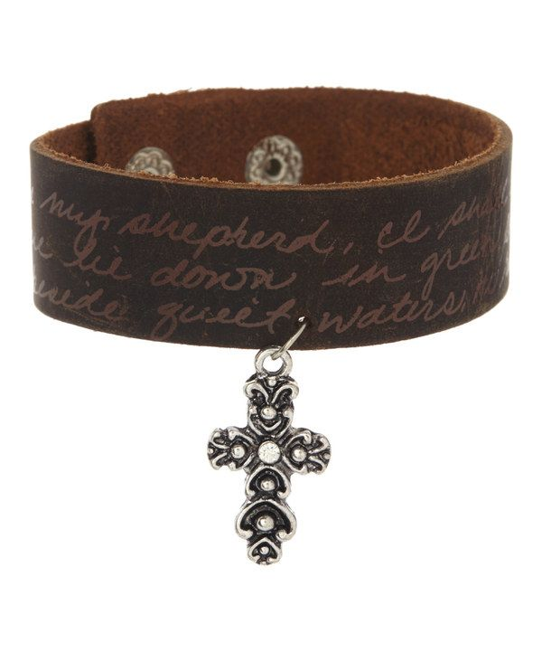 Look at this Monarch Inspirations Rhinestone & Leather Cross Bracelet on #zulily today!