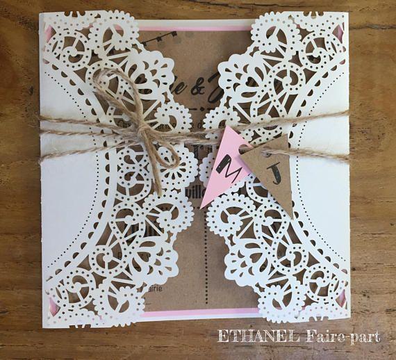 Chiseled lace retro wedding invitation boho chic – set of 10