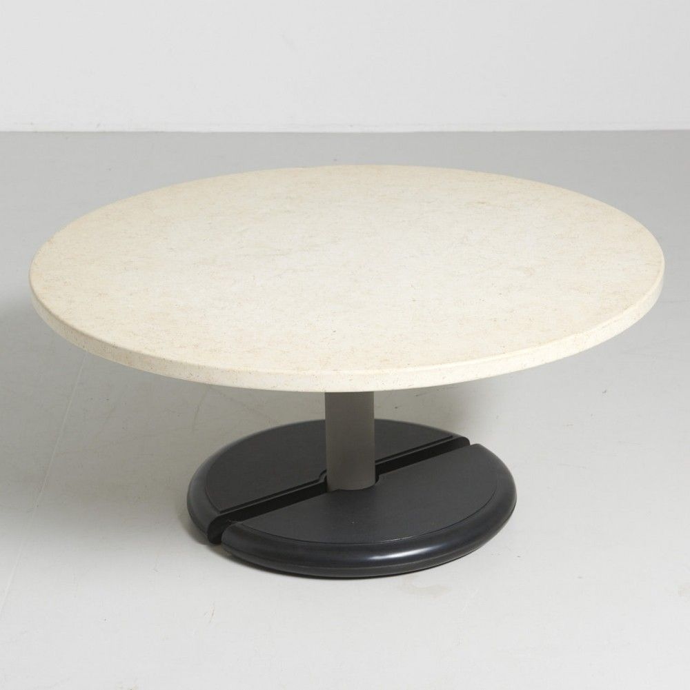 Round Travertine Coffee Table With Formica Base 1970s Travertine Coffee Table Table Travertine