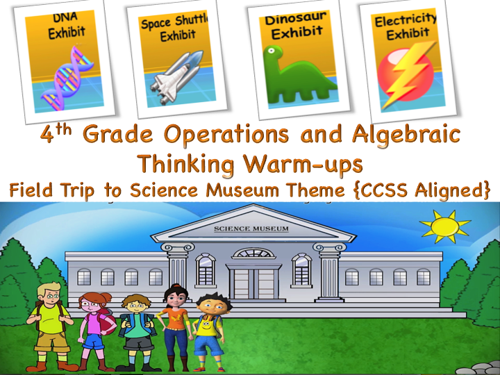 Engage and excite your students while introducing/reviewing the concept of operations and algebraic thinking.  It covers story based animations themed on field trip to science museum. Its an ultimate fun bundle for your kids packed with lots of important concepts they need to learn. *Topics: Multiplicative comparison, multiplicative Vs additive comparison , rounding , operations on whole numbers , factors of whole numbers , prime Vs composite numbers , analyzing number patterns.