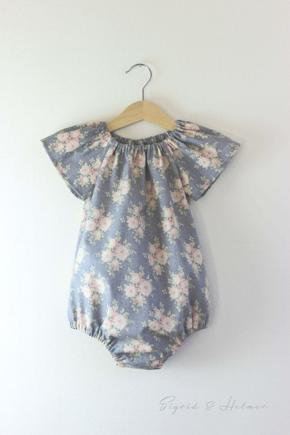 18631f93b Baby Girls Tilda Flower Playsuit Romper... Made to Order ... Size ...