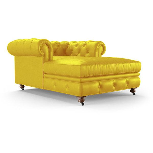 Joybird Liam Mid Century Modern Yellow Leather Chaise 3 639