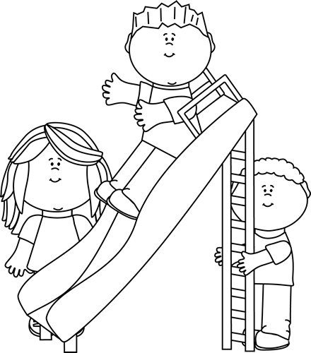 Black And White Kids Playing On A Slide Clip Art Black And White Kids Playing On A Slide Image Coloring Books Coloring Pages Cool Coloring Pages
