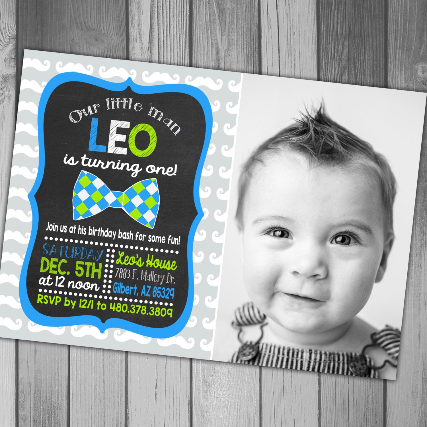 Boy Birthday Invitation 1st Birthday First Birthday Mustache ...