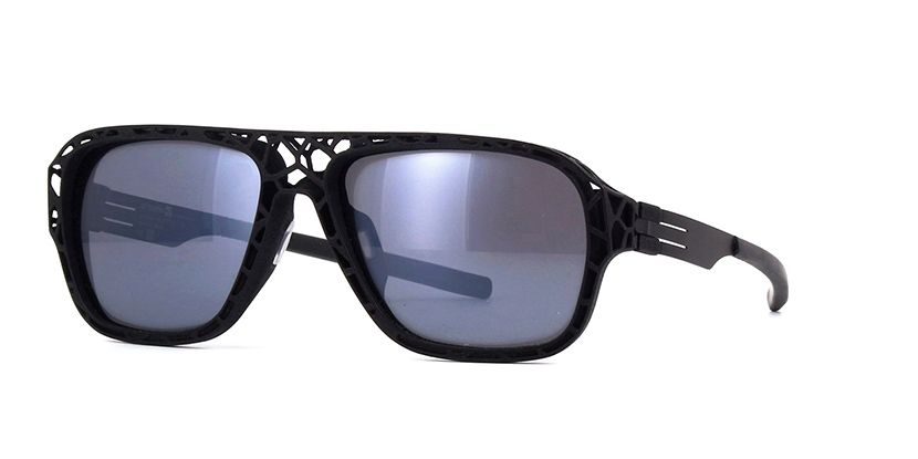 b83e2580af311 ic! berlin I See Exoskeleton Special Edition Black and Frozen Mirrored Grey  Black Sunglasses
