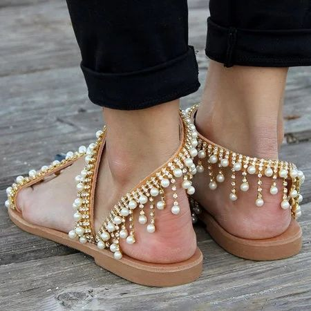 268e2ad1c218 Bohemian Style Sandals Casual Beach Pearls Shoes – luckinbag ...