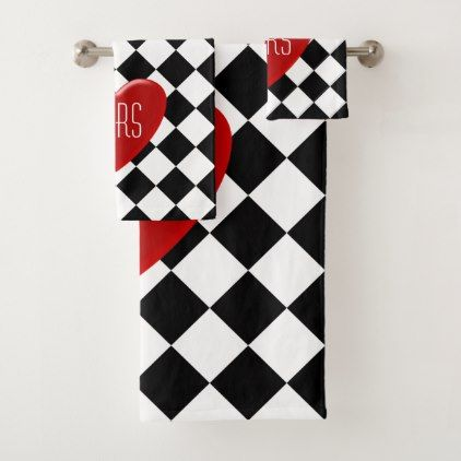 His Or Hers Red Heart On Black And White Diamonds Bath Towel Set