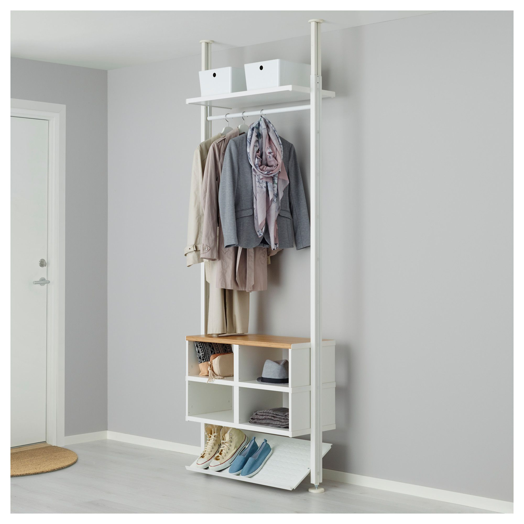 save off 685ca 574e6 Shelf unit ELVARLI white | Hall | Ikea garderob, Ikea hyllor ...