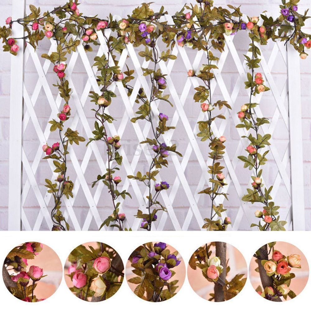Artificial Floral Flowers Leaves Home Garden Garland Hanging Craft