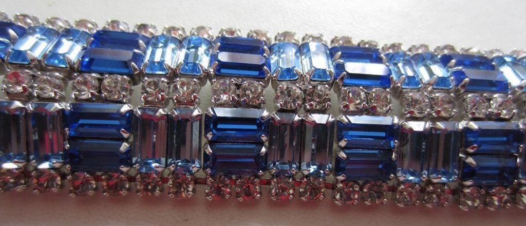 Vintage Costume Jewelry - Blue & Clear Rhinestone Heaven Wide Bracelet, 1950's
