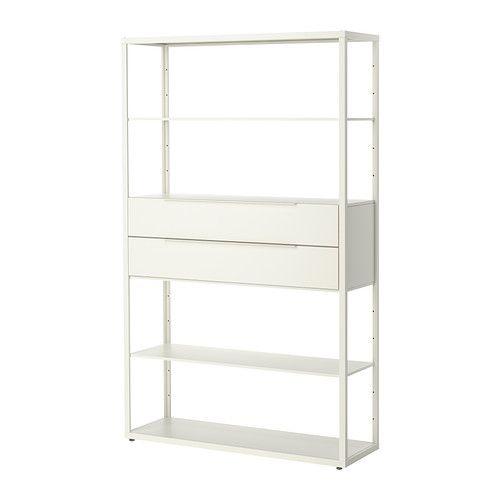 Kontor - FJÄLKINGE Reol med skuffer, hvid hvid 118x193 cm