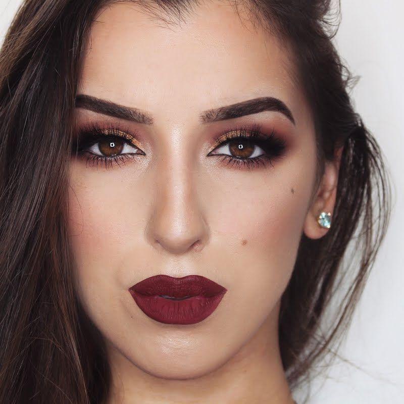 Mesmerize Them With Every Move You Make With Classic Smokey Eyes And Perfectly Defined Burgundy Lips Burgundy Makeup Burgundy Makeup Look Holiday Makeup Looks