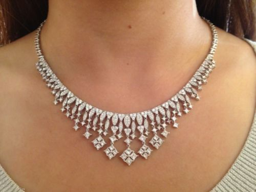 █ 14 cts Cascading Diamond Necklace in 18K White Gold █ HM829 $22,500