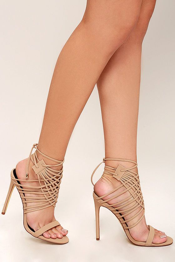 c3636a578e7f We re not telling tall tales when we talk about how cute the Weaving Tales  Nude Nubuck Caged Heels are! Velvety vegan nubuck forms a toe strap and a  cagey ...