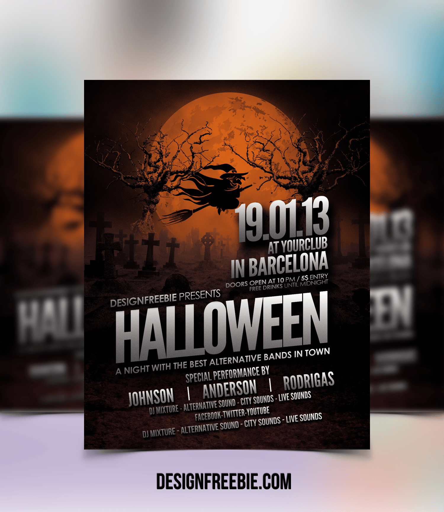 Halloween Flyer psd Template Halloween party flyer