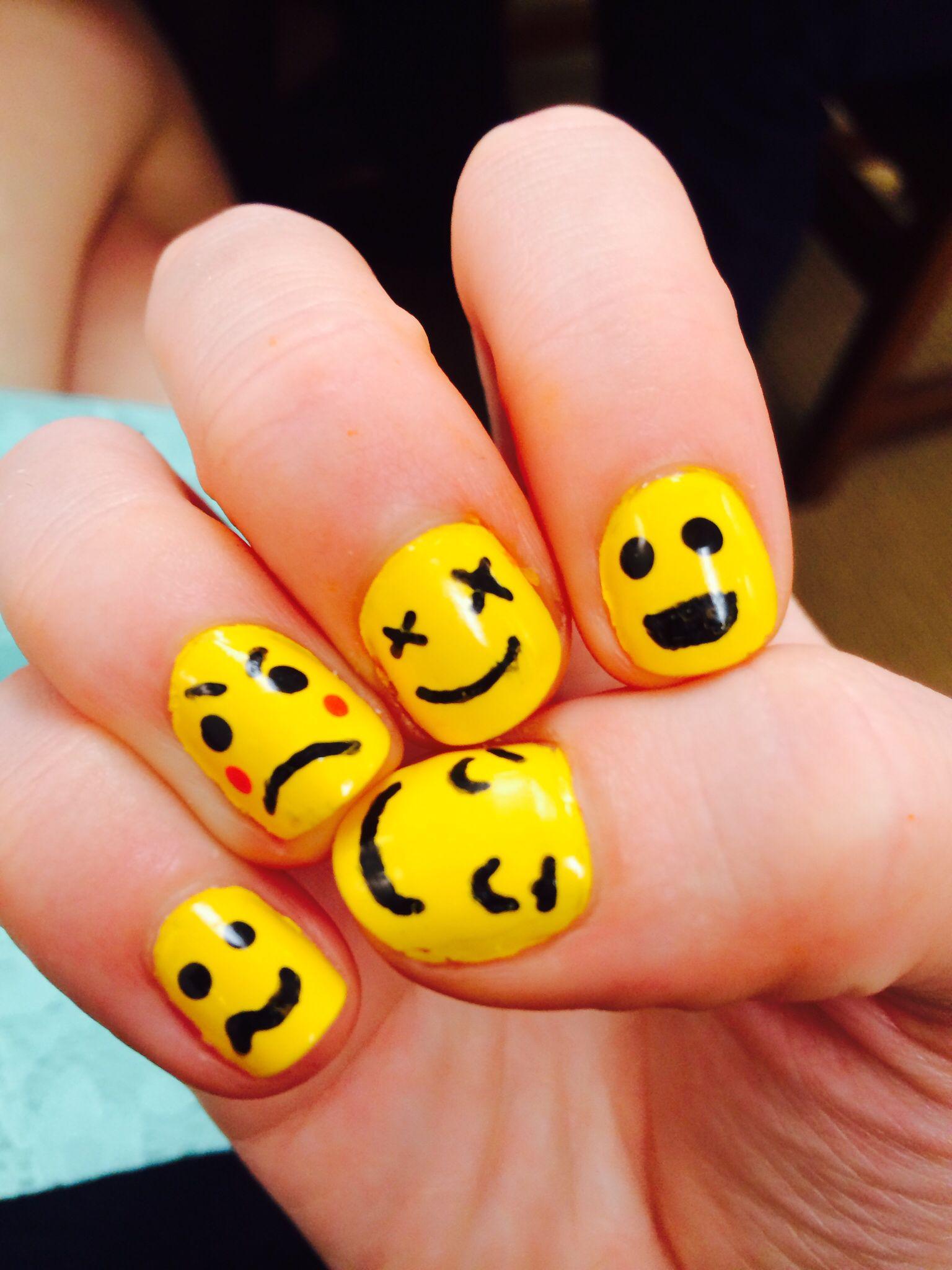Emoji nail art the other hand | My magical nail art | Pinterest ...