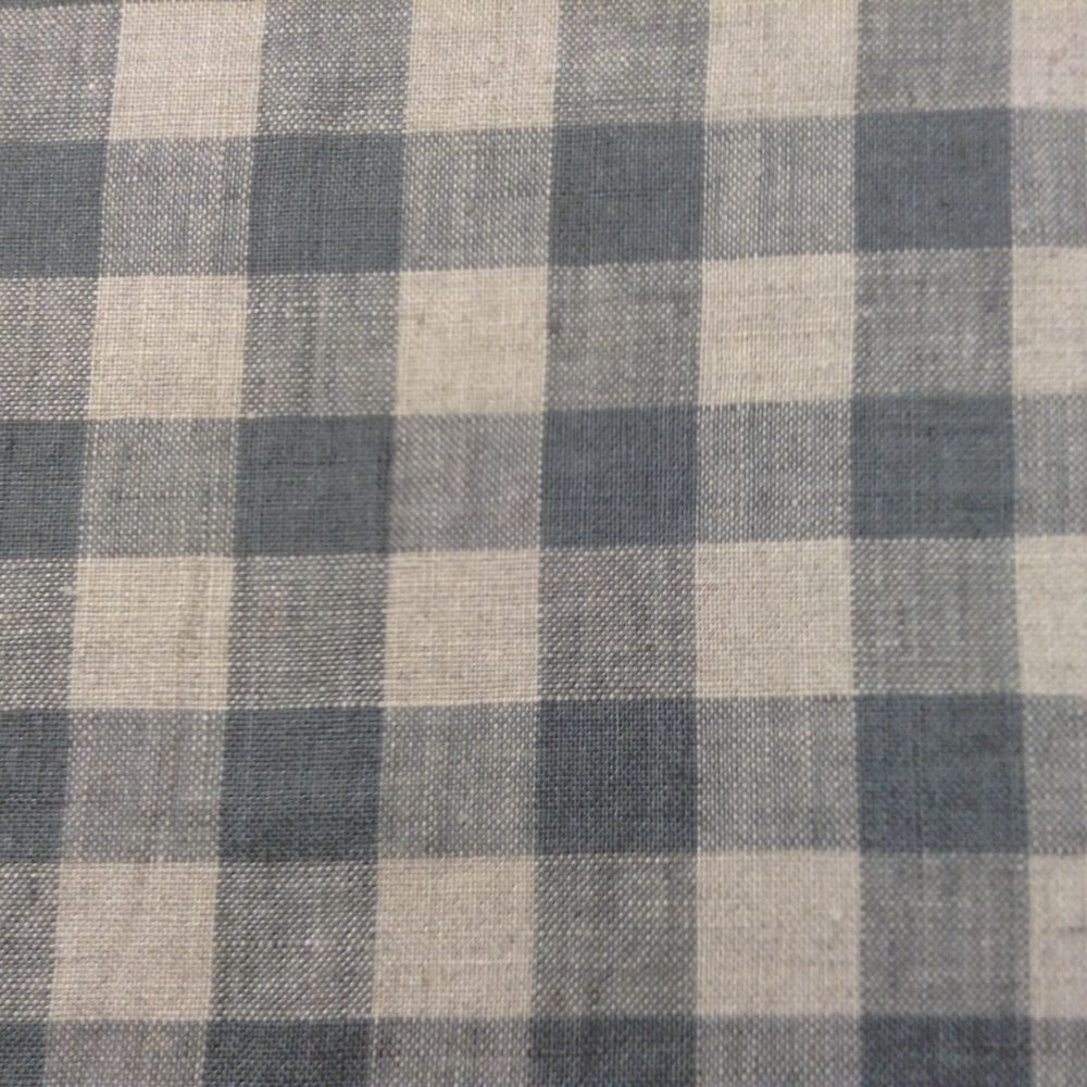 Details About French Vintage Linen Gingham Check D0ve Grey