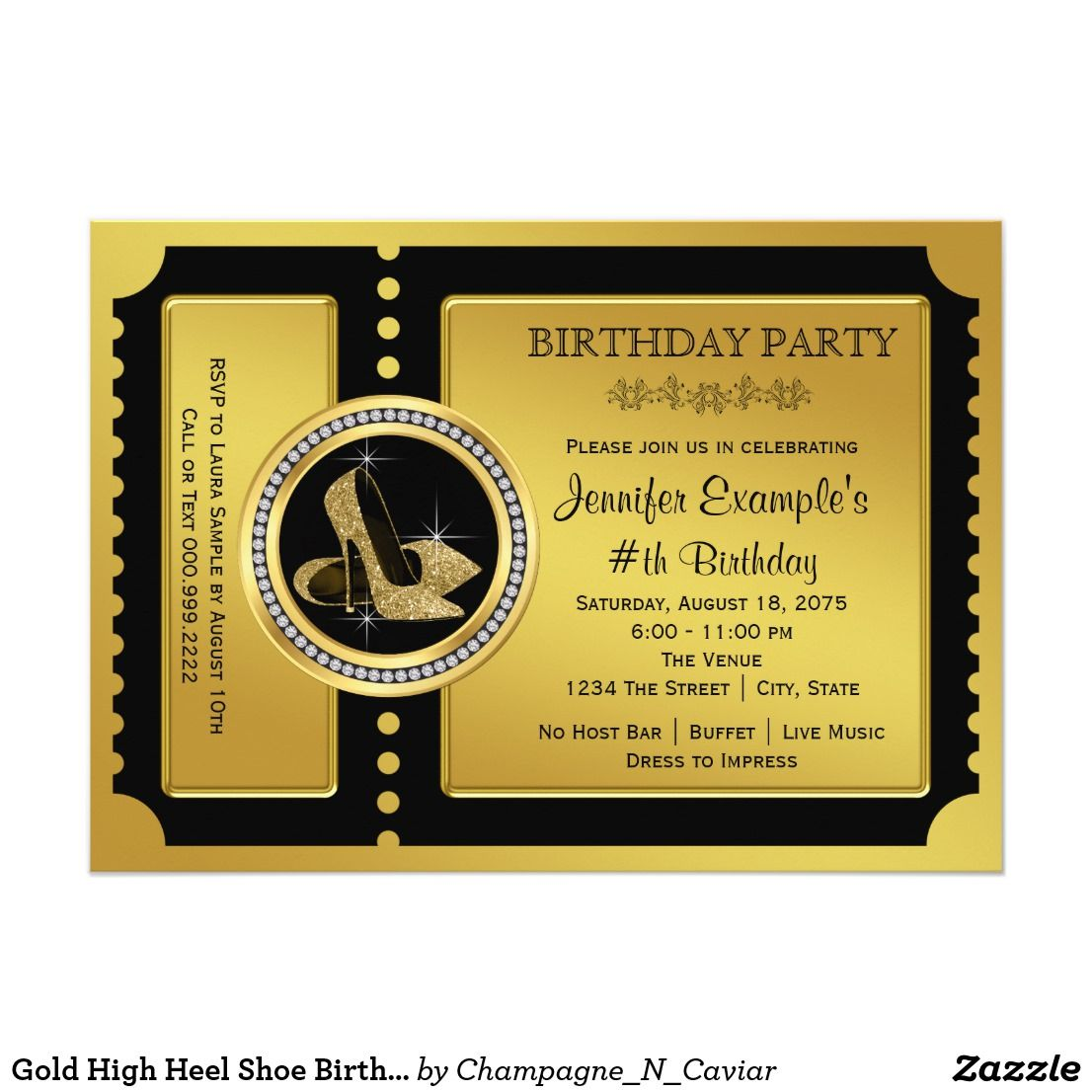 Gold High Heel Shoe Birthday Party Card | Ticket invitation, Party ...