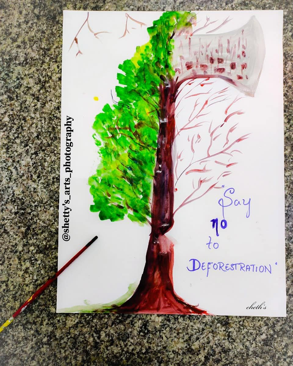 Say No To Deforestation Save Earth Save Plants Plant A Tree Lend A Hand To Save Trees Art Artist Dra Save Earth Save Earth Drawing Earth Drawings