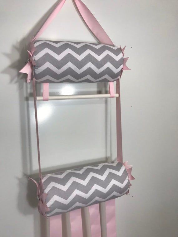 Headband Holder or head band organizer hair bow cheer bow jewelry holder L gray chevron w/pink double holder 2 tier