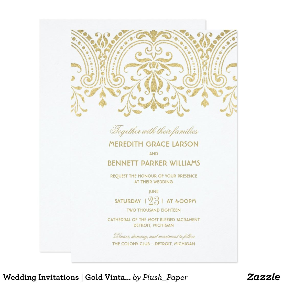 Wedding Invitations Gold Vintage Glamour De Epoca Boda Y