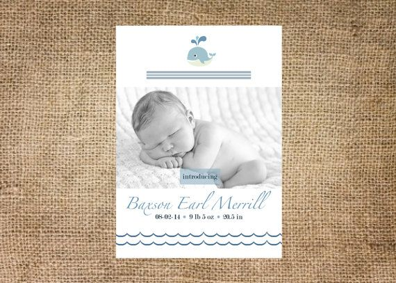 nautical baby boy photo birth announcement by