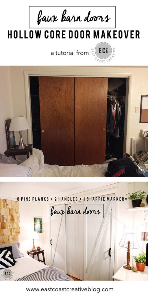Ideas : DIY Faux Barn Doors:  Hollow Core Door Makeover from East Coast Creative! Modern Farmhouse Makeover.  Fixer Upper Style Bedroom.