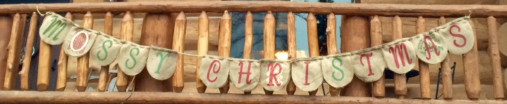 """Here is a banner I created for our porch~~~a little place we like to call the """"Mossy Mountain Lodge""""."""
