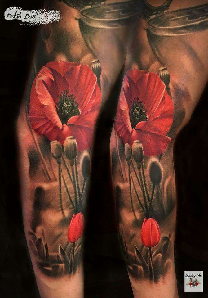 Realistic Poppy Field Tattoo Mohnblumen Tattoo Tattoos Bein Tatowierungen