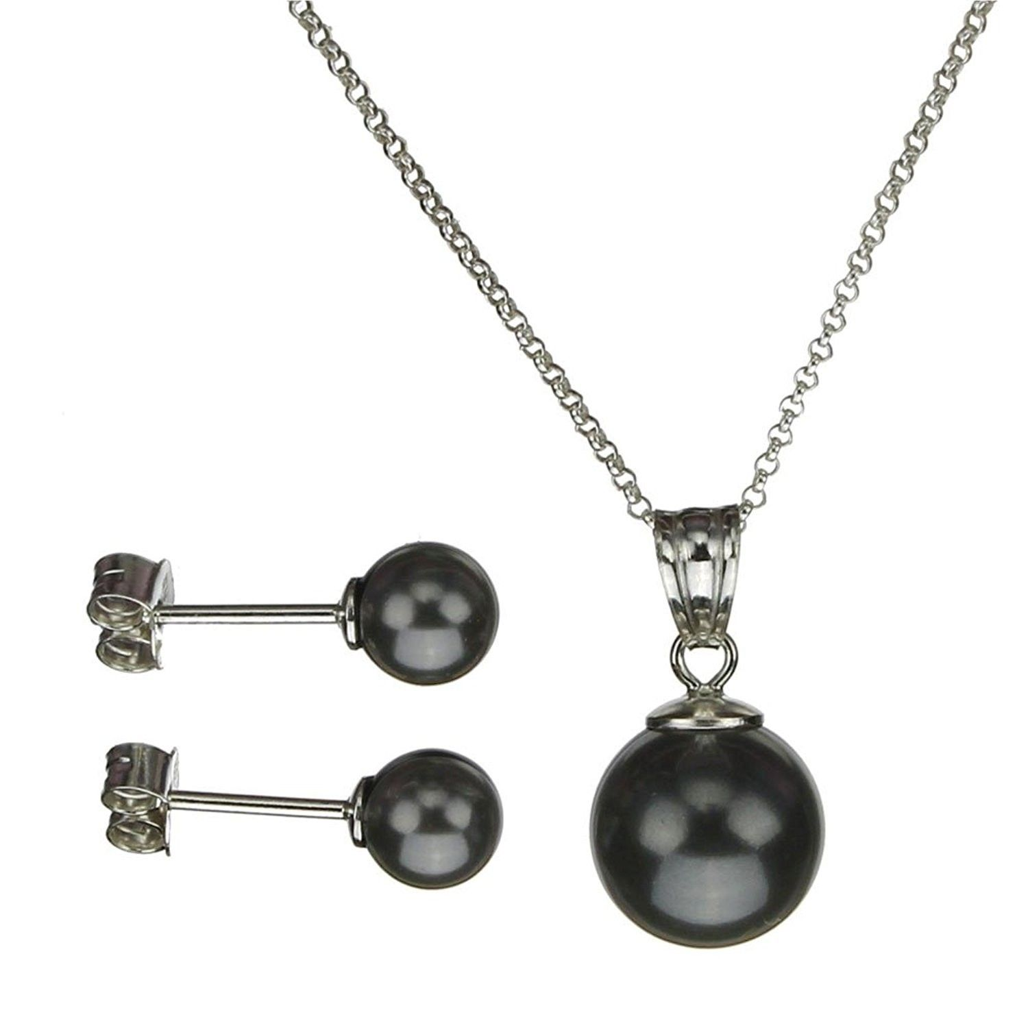 0e680c4b499 Jewelry Sets, Sterling Silver Chain Necklace Earrings Black Simulated Pearl  Pendant Made with Swarovski Crystals - CP11NXIH3WL #JewelrySets  #designerjewelry ...