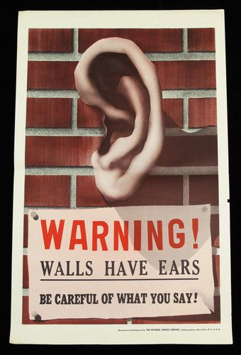 Vintage 1940s World War Ii Wwii Poster Warning Walls Have