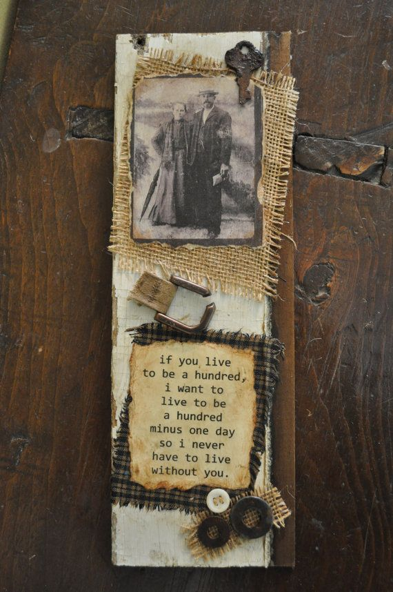 Weathered Wood Art With Photo Burlap Rusty Trinkets And