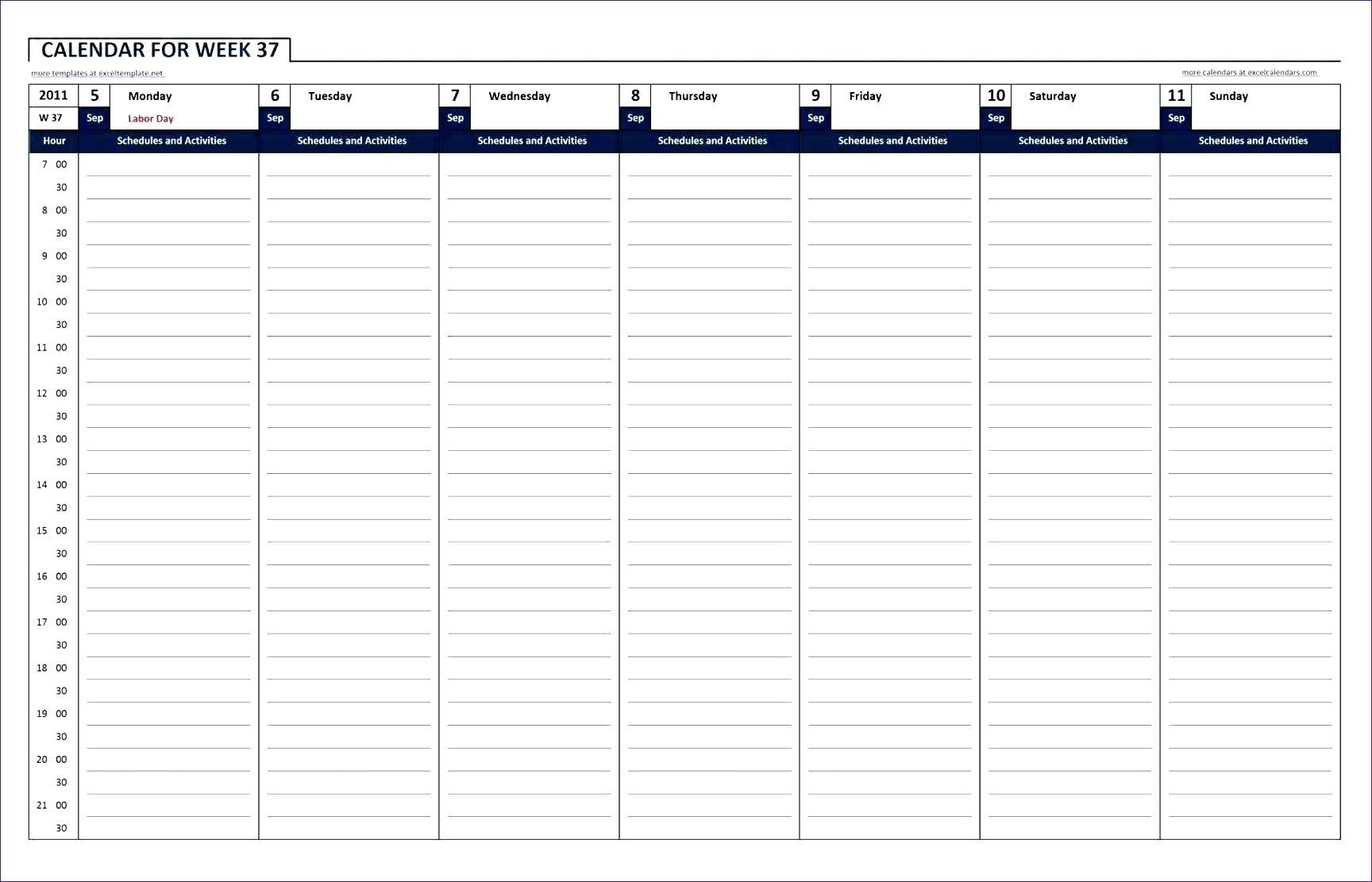 019 Hour Schedule Printable Template Calendar For Excel
