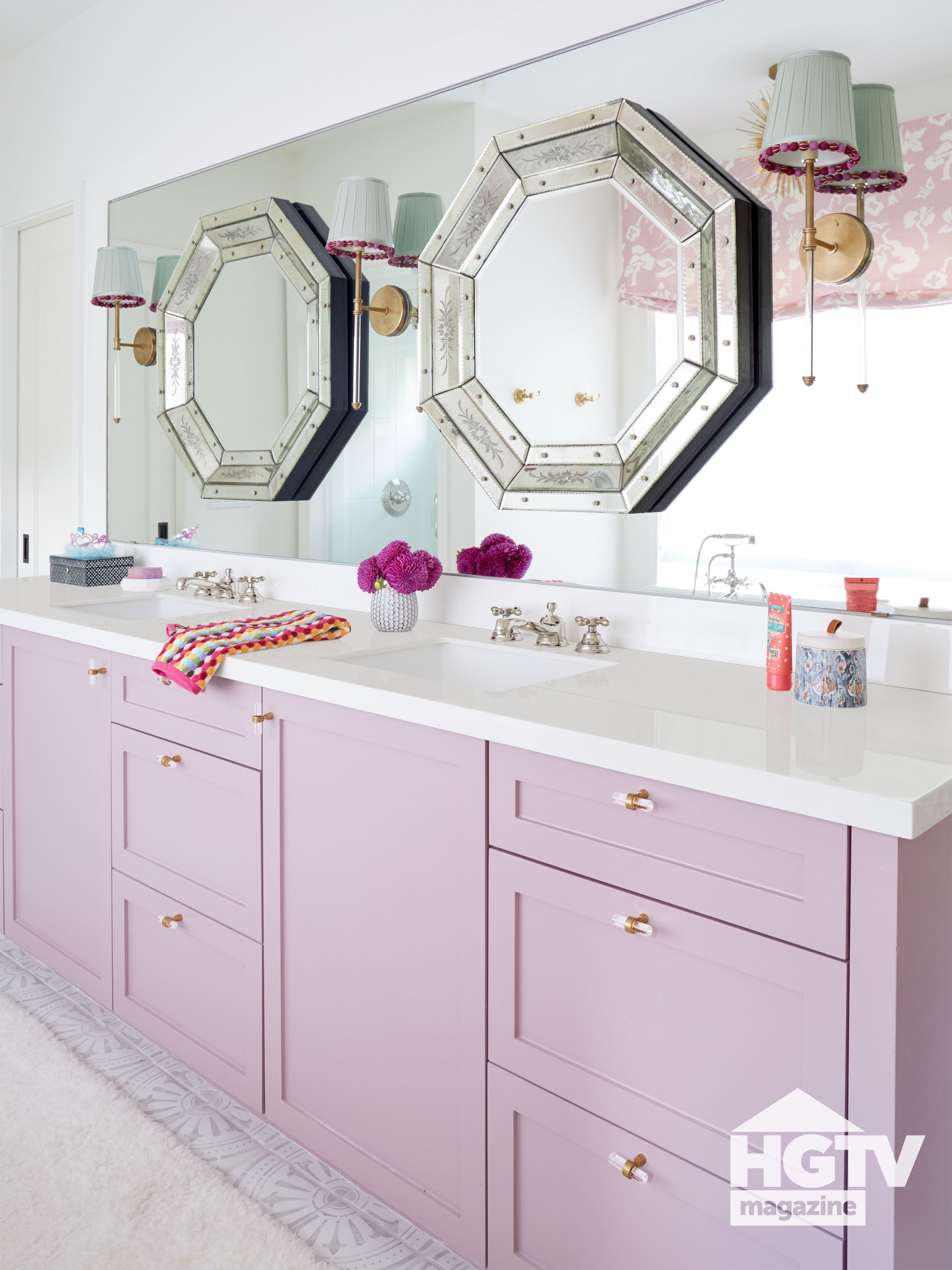 A Purple And White Girl S Bathroom From Hgtv Magazine Girls Bathroom Painting Cabinets Light Purple Paint