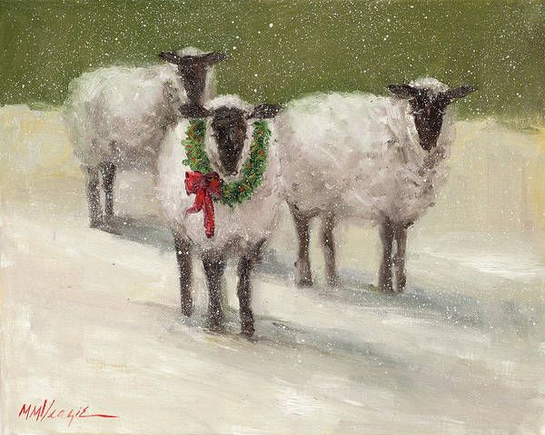 Lambs With Wreath Art Print by Mary Miller Veazie