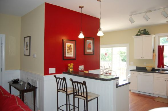 astonishing white kitchen red accents | red accent kitchen | white kitchen, Our kitchen is open to ...