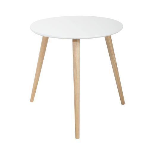 Table d\'appoint - MDF et chêne - Ø 40 x H 40 cm - Blanc   Table ...