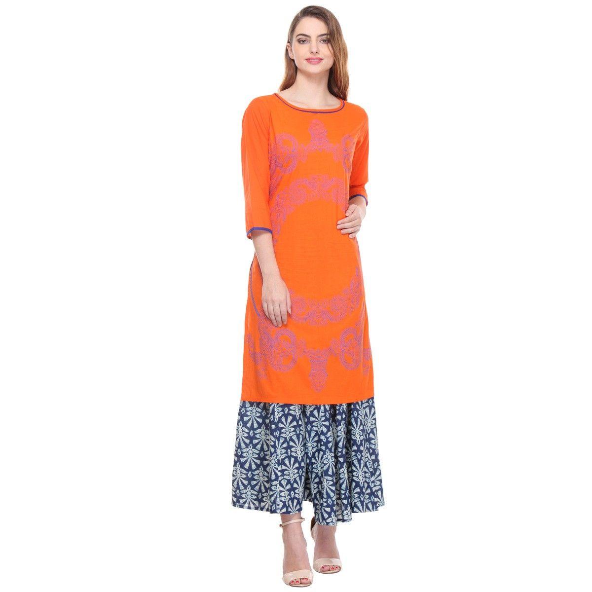 Rs.1099, Buy Online Cotton Orange Stitched Printed Straight Kurti With  Palazzo - M11095 - Varanga - Reviews - IndiaRush