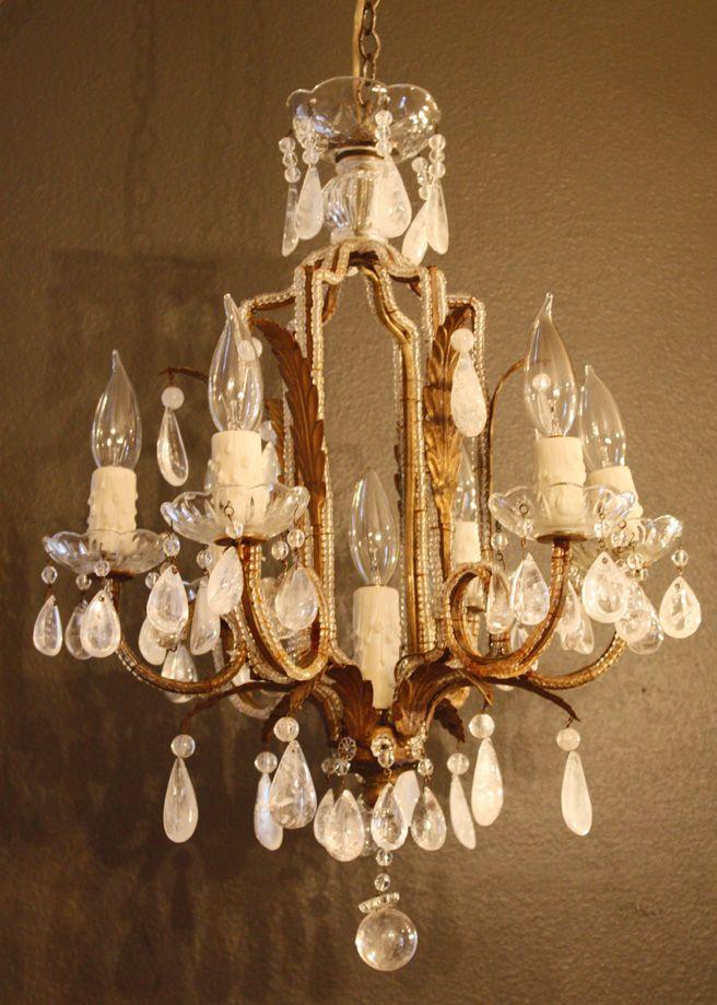 Early 1900s Rock Crystal Beaded Italian Chandelier - For the Foyer