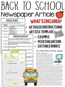 Back To School Newspaper Article Peer Review Template Editable Rubric HighSchoolEnglish MiddleSchoolEnglish